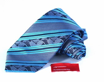 Tie (3 inch wide) in Turquoise Navy Blue Floral Stripes
