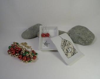 Box, black and white porcelain, customizable, bird motif