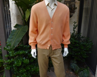 Vintage 1980's Bullocks Wilshire Peach Colored Golf  Cardigan - Size Large