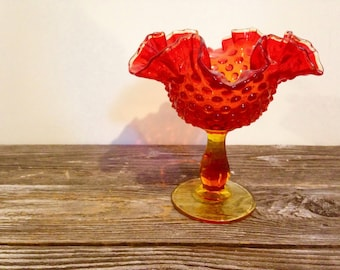 Vintage Fenton Amberina Red Compote Hobnail Double Crimped Dish Christmas Holiday Bowl