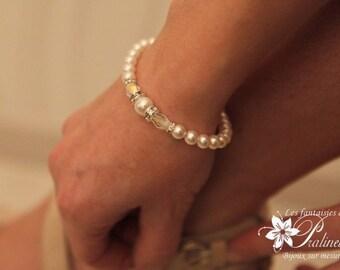 Bracelet de mariage rétro vintage rétro perles nacrées et grains de riz cristal, accessoires mariées - Bridal rhinestone bracelet