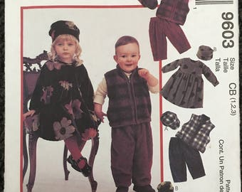McCalls Girls Boys Toddlers Dress Vest Pull on Pants and Hat Sewing Pattern 9603 UC Uncut FF Size  1 2 3