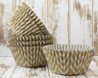 Silver & Gold cupcake liners Chevron cupcake liners (100 ct) baking cups muffin cups standard size grease proof cupcake wrappers