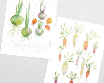 Vegetable card, Vegetable stationery, Veggie, Vegetable watercolor, Vegetable lover, Cute vegetable, Garden, Watercolor card, Pastel card