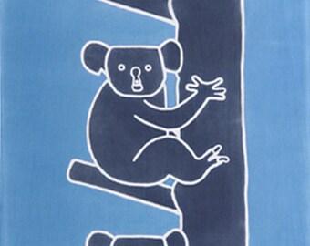 Japanese Tenugui Towel Cotton Fabric, Kawaii Koala, Pop Animal Print Blue Fabric, Wall Hanging Tapestry, Cute Home Decor Wall Art, n210