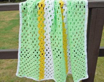 Crochet Baby Blanket Green Yellow White Striped Throw Afghan Handmade Knitted Gift for Boy or Girl