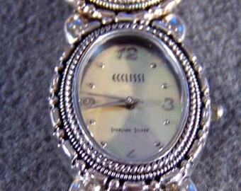 Vintage Designer Ecclissi Mother of Pearl etched  Sterling Silver  bracelet watch     W