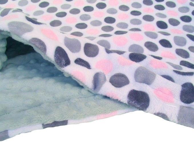 Personalized Blanket, Pink Gray Blanket, Embroidered Blanket, Pink Polka Dot, Kids Minky Blanket, Newborn Swaddle Wrap, Pink Swaddle Blanket