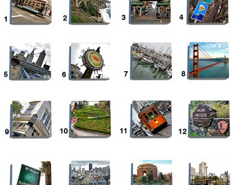 San Francisco Color - Stone Coaster Tile Set - Pick any Four images - 16 to choose from