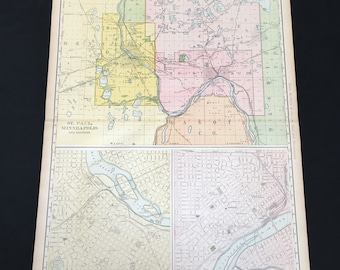 XL Antique Map of Minneaplois and St. Paul, 1898 Color Map by Rand McNally, Original Antique Map
