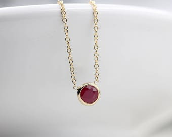 14k solid gold genuine ruby necklace solitaire necklace natural ruby necklace birthstone necklace