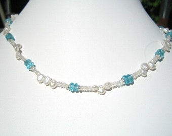 Moonstone, Apatite and Pearl Necklace