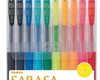Zebra SARASA CLIP 0.7mm GEL Ink Rollerball Ballpoint Pens Set -  10 Colors Pens