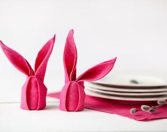 Easter napkins  - Neon pink napkins -  Hot Pink linen napkins set of 6 - Spring table decoration