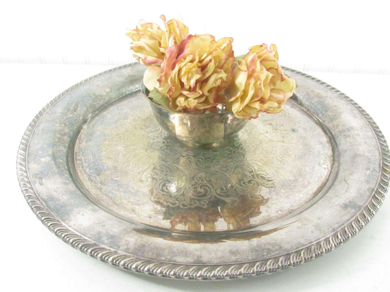 Shabby chic wedding decor vintage silver tray serving tray