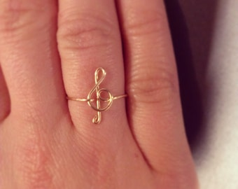 Treble Clef ring 14k gold filled