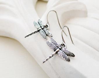 Silver Dragonfly Earrings   Silver Insect Earrings   Boho Earrings