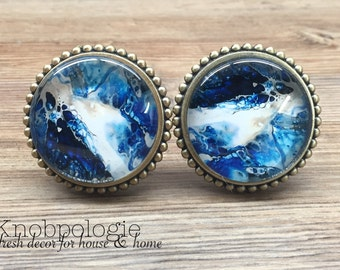 """SET OF 2 Large 2.25"""" Vibrant Blue and White Watercolor Knob with Glass Face - Drawer Knob Pull Cabinet Knob"""
