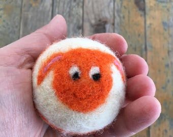 Orange Sheep or Lamb, Felted Wool Toy Ball or Sculpture , Mini