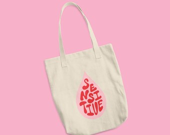 Cotton Tote Bag Sensitive Hand Lettering Pink Red Made in USA