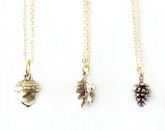 Gold Chain Charm Pendant Necklace - Acorn, Oak Leaf, Fir Cone - Gold - The Basics: Autumn Flora