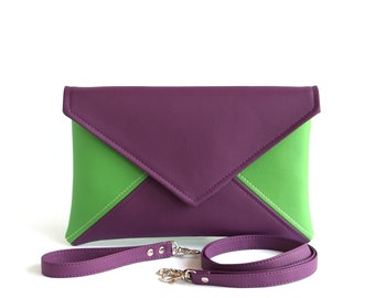 Purple Clutch Bag Green Clutch Purse Womens Gift Bridesmaid Clutch Vegan Leather Clutch Wristlet Small Crossbody Bag Cross Body Purse Vegan