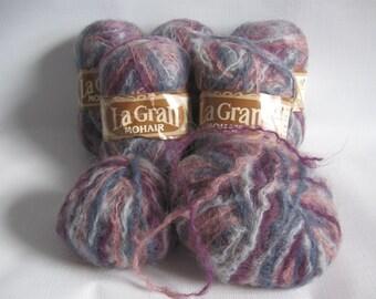 Elite La Gran Mohair Yarn, Color 3540, Five Full Skeins PLUS, Purples and Blues, Same Dye Lot, Older Label