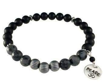 Unisex Gemstone Bracelet, Karmic Serenity Collection, Sterling Silver, Black, Onyx, Larvikite, Beaded, Charm, Healing, Stackable
