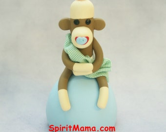 Sock Monkey Baby Shower  Cake Topper Boy w Blanket and Pacifier