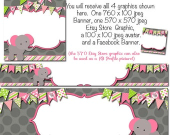 Etsy Store Graphics, DIY Blank Etsy Banner and Facebook Set - Elephant Party - Customize for your Store