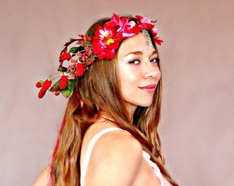Framboise Flower Crown, Queen Crown, Wedding Crown, Festival Crown