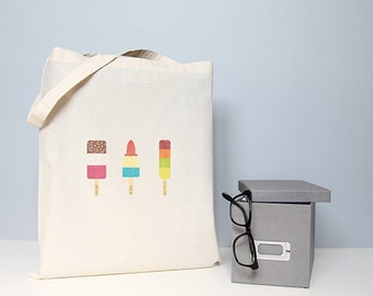 Tote bag, cotton shopper, ice cream bag, ice lollies