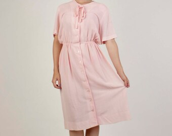 60's Babydoll Pink Short Sleeved A Line Dress By Korell Plus/Plus size vintage/Classy retro clothing