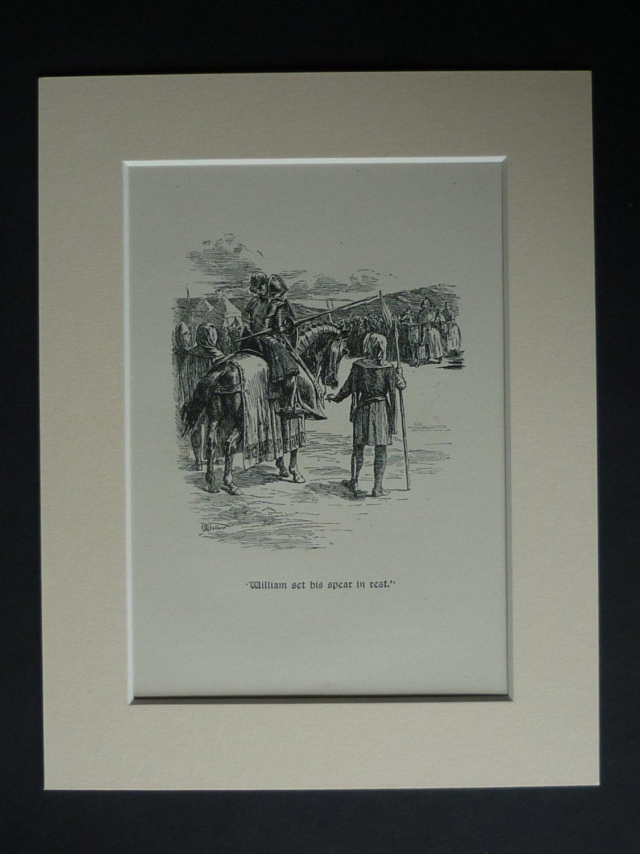 Vintage 1952 mittelalterlichen Ritter-Print Arthur George