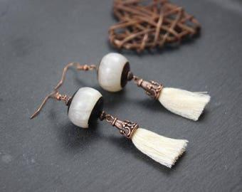 Earrings smart ethnic style, off white cotton, two-tone Horn bead tassel
