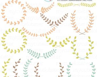 Laurel Clipart Set - laurel frames clipart, borders, leaves, laurels, wreaths, leaf - personal use, small commercial use, instant download