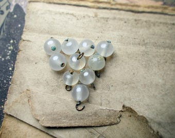 Vintage Glass Bead Charms - 10 Rustic Peeled Pearls - Round Bead Charm Drops - 7-9mm Beads, 11mm with Loop - Clear Vintage Japan Glass Beads
