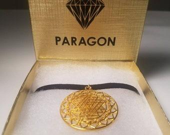 Gold Extended Merkaba Flower of Life Charm CHOKER Sacred Geometry PARAGON