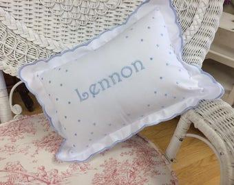 White Linen and Swiss Dot Pillow