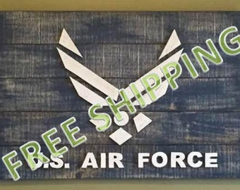 Rustic Air Force Flag Constructed from Reclaimed/Repurposed Wood (Free Shipping)