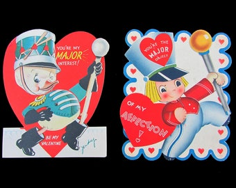 "1940s 6"" Valentine Cards - mechanical majorettes 6x5"