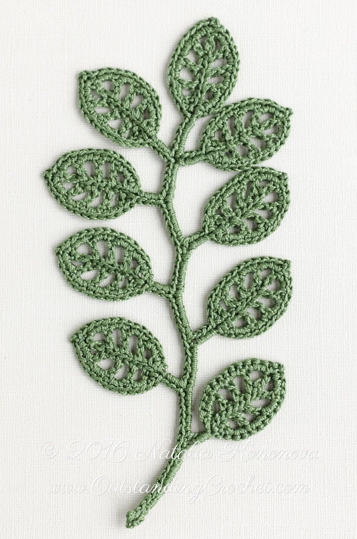 Irish crochet applique pattern branch crochet gift idea zoom ccuart Image collections