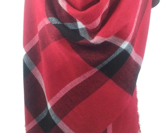 Red Scarf Blanket Scarf Red Black Plaid Scarf Shawl Winter Scarf Men Scarf  Gift For Him Gift For Men Gift For Women Gift For Her SCARFCLUB