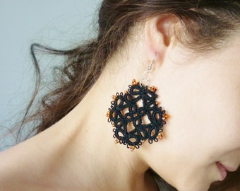 Black Charming Tatted Earrings with Orange Glass Beads - Needle tatting technique - frivolite - elegant pattern - handmade lace jewelry