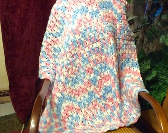Hand made crocheted pink blue white baby blanket afghan. Free ship