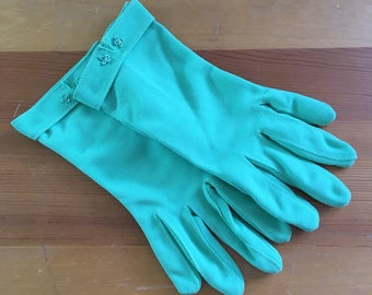 Vintage Spring Pea Green Clover Wrist Gloves, Size Small