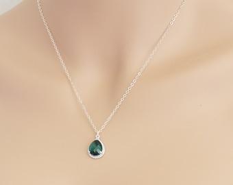 Emerald Necklace, Tear Drop, Emerald Birthstone, Wedding Jewelry, May Birthstone, Emerald Jewelry, For Her, Emerald Pendant, BeadXS, Gift