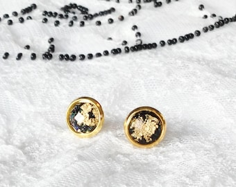 Black and Gold Tiny Stud Earrings, Modern Jewelry, Minimalist Jewelry, Gold Earrings, Nickle Free, Gold Flecked, Small Studs, Posts