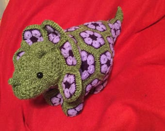 Handmade Crochet Dinosaur. African Flowers. Dino. Roar. Colour choice. Custom made.