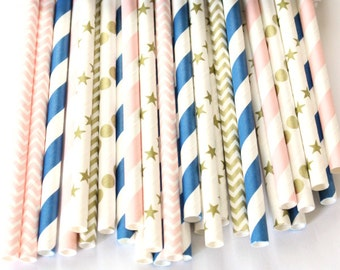 Navy blue, pink and gold stars paper straws-set of 25- twinkle, twinkle little star party, gender reveal straws, baby shower pink straws,